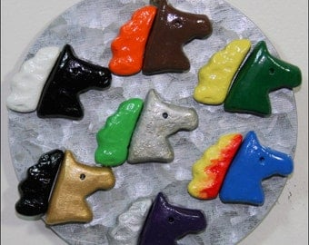 Horse Head Magnets, Set of 13, Baker's Dozen, Custom Colors, Mix and Match, Kitchen or Office, Plaster