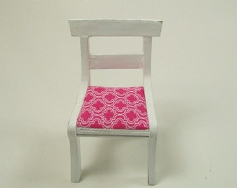 Pink White Chairs Kitchen Dining Upholstered 1:12 Dollhouse Miniatures Artisan