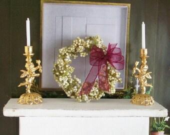 Floral Wreath White Burgundy Round 1:12 Dollhouse Miniature Scale Artisan