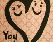 You + Me = Love  Card and envelope