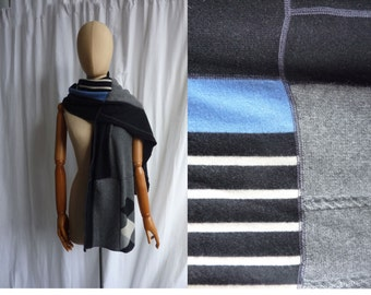 recycled cashmere scarf in blue black white gray stripe shawl wrap   1204