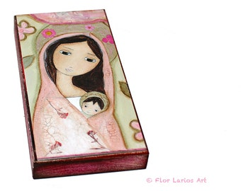 Madonna in Pink  -  Giclee print mounted on Wood (5 x 10 inches) Folk Art  by FLOR LARIOS