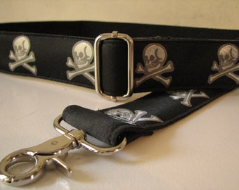 Black and Silver Skull and Crossbones Custom Bag Strap