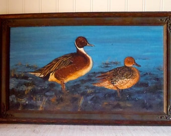Vintage Folk Art Painting Pair of Pintail Ducks Signed by the Artist