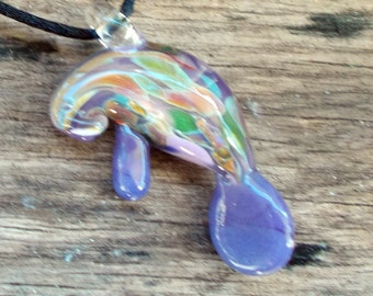 Hand Blown Glass  Periwinkle Manatee Pendant, Necklace, Focal Bead