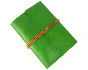 Travel Journal: Green leather with friendship quotation. Handmade in UK, ships worldwide. Adventure, Holiday, Vacation Notebook, Sketchbook.