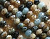 BOHEMIAN .. 25 Premium Picasso Mix Czech Rondelle Beads 6x8-9mm (4405-st)
