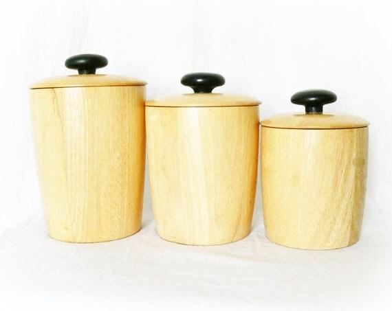 Vintage 60s danish modern kitchen canisters blonde wood set 3 for 60s kitchen set