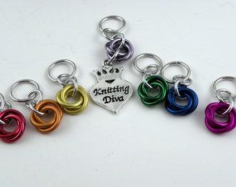 Stitch Markers - Knitting Diva - Knitting Stitch Markers - Knitting Marker - Knitting Gift - Chainmail Stitch Marker - Rainbow Stitch Marker