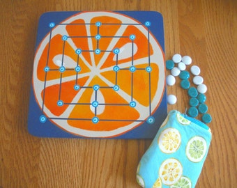 FREE SHIP Mill Nine Men's Morris Orange Slice wooden Wood Board Game with turquoise blue citrus zip top pouch, rules - BearlyArtDesigns