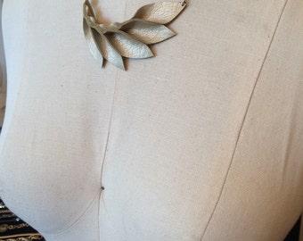 Petal Collection- Pale Gold Faux Leather Petals Necklace