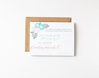 Will You Be My Bridesmaid Proposal Bridal Party Invites Eco Friendly Recycled Paper Greeting Cards Wedding Party Ask Bridesmaid Gift