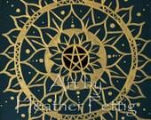 Pagan Mandala Acrylics on Colored Mat Board Spiritual Pentacle Pentagram Lotus Flower Nature