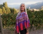Indian Summer - Hand Painted Silk Poncho Price Reduced (was 195)