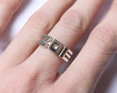 Personalized Initial ring, alphabet, letter, sterling silver monogram, bridesmaid gift, name custom ring, personalized Jewelry made to order