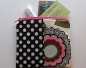 Small Zipper Bag, Black and Pink Flowers and Dots Coin Purse, Credit Card Bag, Gift Card Holder