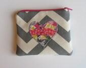 Small Zipper Bag - Heart with Grey Chevron, OOAK Pink, Grey, Yellow Heart  Coin Purse, Credit Card Bag, Gift Card Holder