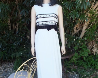 Vintage Mill Elliette Beaded Gown, Stunning Creamy White and Black Beaded Evening Dress, Dinner Dress, Evening Dress, After Six