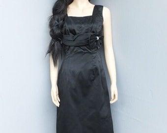 Vintage Satin Black Cocktail Dress, Dinner Dress, Black Satin, Holiday Dress, formal Wear, After Six