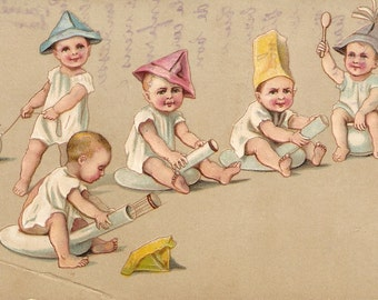 Babies postcard Funny babies playing in potty vintage post card, antique postcard, potty training, potty pots