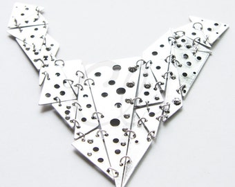One Piece Oxidized Silver Plated Base Metal Pendant - Geometry 164x128mm (1383C-T-246)