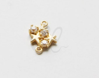 One Piece Premium Matte Gold Plated Brass Base Links - Star with Rhinestone 15.5x10.5mm (1787C-T-269)