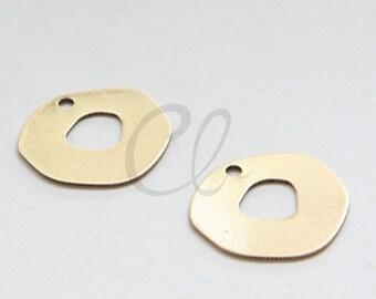 4pcs Oxidized Gold Tone Brass Base Irregular Charm - 21mm (1721C-F-511)