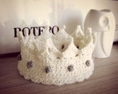 Royal crown, wool crochet headband with silver gemstones, ear warmer for queen, king, prince and princess - Made to order