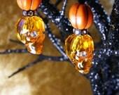 Swarovski Crystal Skull in Sun Orange, Iridescent Green or Jet Black with Pumpkin Bead and Crystal Eyes Halloween Earrings