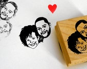 Custom portraits invitations stamps / couple wedding / self inking / wood block / for portrait him her couples save the date gift ideas