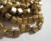 Czech BeadStuds/Pyramids- 6mm square, 6.5mm tall, 2 Holes - Silky Gold - 25 Beads