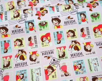 Heidi Girl of the Alps Print FAT QUARTER 50 cm 53 or 19.6 by 21
