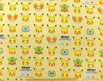 Pokemon licensed  fabric  50 cm by 53 cm or 19.6 by 21 inches FAT QUARTER Printed in Japan  ©nintendo  ©pokemon