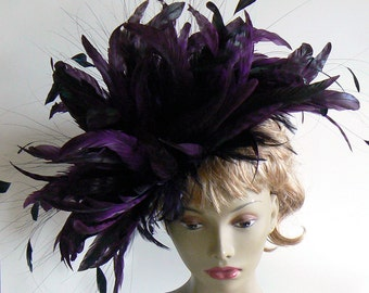 Large feather headress - feather showgirl headpiece - purple feather hat