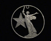 RUSSIA USSR - cut coin pendant - w/ Volgograd Monument, 30 years Anniversary of World War II Victory - 1975