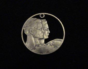 YUGOSLAVIA - cut coin pendant - w/ Man, Woman, Machine Gear and Wheat
