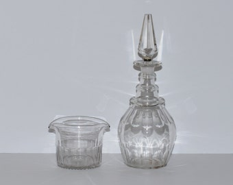 Antique Tree Ring Glass Decanter & Double Lipped Rinsing Bowl Set, circa 19th century