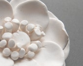 Anemone Flower Sculpture - White Modern Minimalist Clay Wall Plaque or Ornament