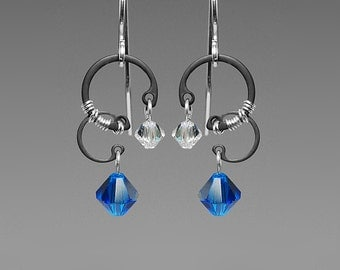 Centaurus A II v6: Elegant industrial wire wrapped earrings with capri blue Swarovski crystals