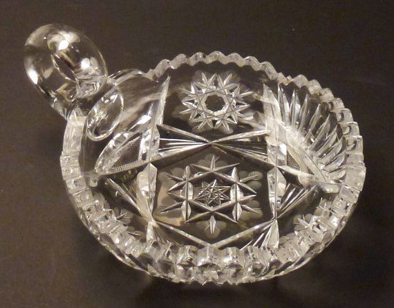 Crystal Candy Dish Lead Cut Glass Beveled Faceted Clear Very