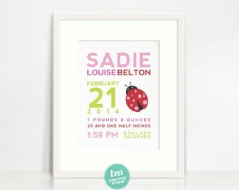 Custom Birth Announcement Print // Ladybug Wall Art // Nursery Print // Birth Stat Poster // Red, Pink, Green // Baby Girl // 8x10 Print