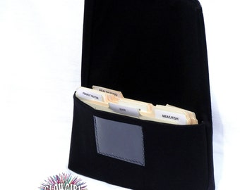 Fabric coupon organizer  and Receipt Holder Black Cotton Twill