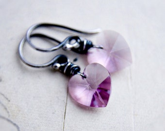 Pink Crystal Earrings, Dangle Earrings, Crystal Earrings, Crystal Jewelry, Swarovski Crystal, Rose Pink, Wire Wrapped, Sterling Silver,