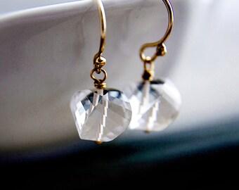 Crystal Earrings, Drop Earrings, Gold Earrings, Crystal Quartz, Crystal Jewelry, Dangle Earrings, Crystal Clear, PoleStar, 14K gold filled