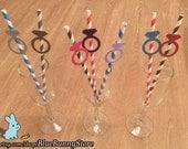 12 Diamond Engagement Wedding Ring Party Straws Paper Straws U Choose Color Bachelorette Engagement Party Wedding Shower