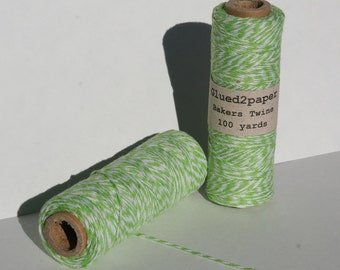 Lime Green and White Bakers Twine - Green Bakers Twine - Scrapbooking Twine - Craft Supplies - 100 yards of 4 Ply Twine
