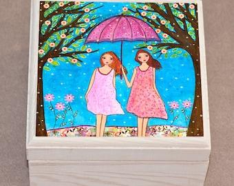 Jewelry Box, Best Friends Sisters Wooden Trinket Box