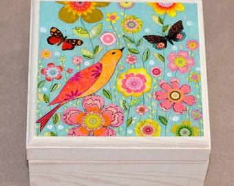 Wooden Jewelry Box,  Bird Jewelry Box, Trinket box