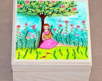 Jewelry Box - Reading Girl Jewelry Box - Girl Wooden Jewelry Box - Trinket box
