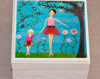 Jewelry Box, Trinket Box, Gift Box, Dancing Mother and Child